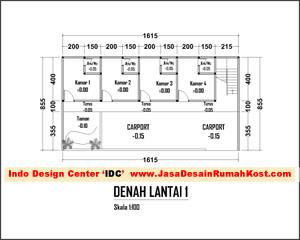 denah layout 2 lantai kostan - jasa desain rumah kost